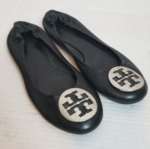 "TORY BURCH ""Reva"" black and silver ballet shoe"